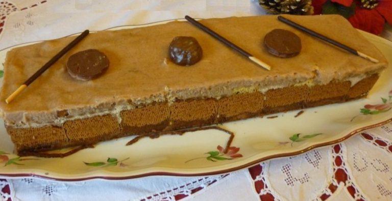 Bûche de Noël au Mascarpone, speculoos et crème de marron