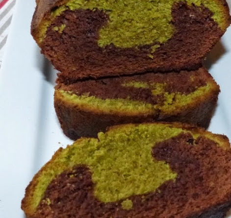 Cake marbré chocolat et thé Matcha