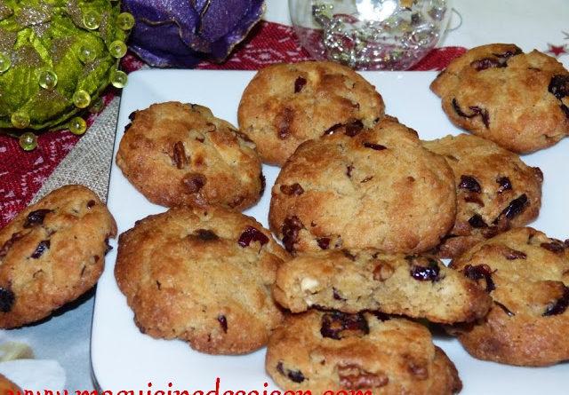 Cookies au chocolat blanc, cranberries, noix de pécan