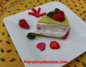 Fraisier au thé matcha et mousse mascarpone à la vanille