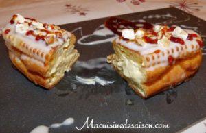 Eclair à la façon catalane : crème catalane à la fleur d'oranger, chou à l'anis