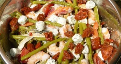 Salade haricots verts-thon-crevettes-anchois